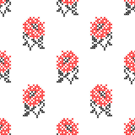 embroidered: Seamless embroidered texture of abstract flat black and red flowers roses for cloth, wallpaper Illustration
