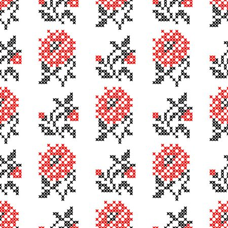 Seamless embroidered texture of abstract flat black and red flowers roses for cloth, wallpaper Illustration