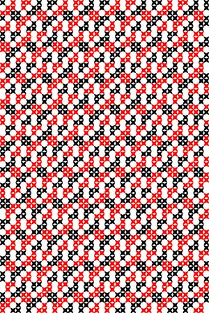 Seamless embroidered texture of abstract geometric flat black and red patterns, cross-stitch Illustration