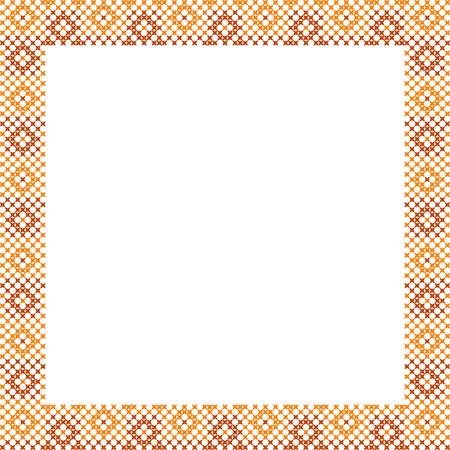 punto de cruz: Marco, los patrones de color marrón sobre tela, bordado abstracta, el marco de chocolate Vectores
