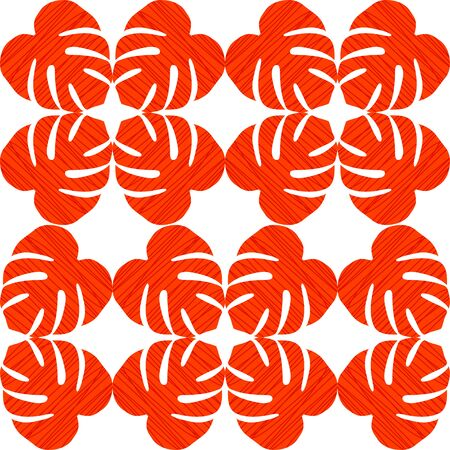 stria: Isolated seamless texture with flat orange and red leaves. Monstera.Patterns for cloth