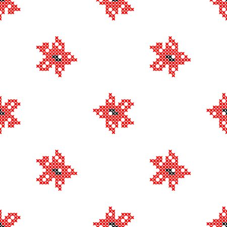bedcover: Seamless isolated texture with abstract red embroidered flowers carnations for cloth