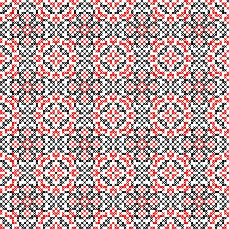 bedcover: Isolated seamless texture with red and black abstract patterns for tablecloth.Embroidery.Cross stitch
