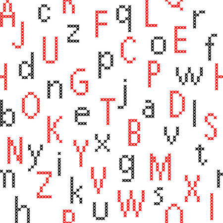jams: Isolated seamless texture with flat red and black English letters. Patterns for childrens pajamas