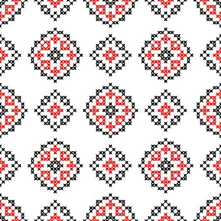bedcover: Isolated seamless texture with red and black abstract patterns for tablecloth. Embroidery. Cross stitch Illustration