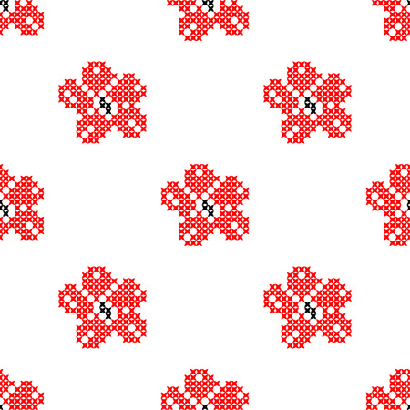 summerly: Seamless isolated texture with abstract red embroidered flowers with leaves for cloth. Embroidery. Cross stitch.