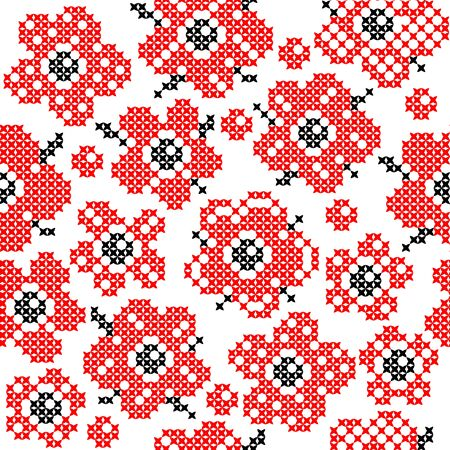 bedcover: Seamless isolated texture with abstract red embroidered flowers with buds and leaves for tablecloth. Embroidery. Cross stitch.