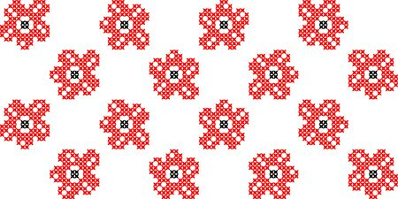 summerly: Seamless isolated texture with abstract red embroidered flowers with buds and leaves for tablecloth. Embroidery. Cross stitch