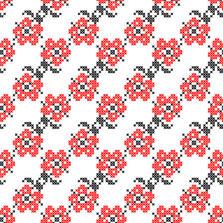 bedcover: Seamless isolated texture with abstract red embroidered flowers with leaves for tablecloth. Embroidery. Cross stitch