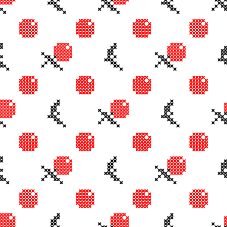 summerly: Seamless isolated texture with abstract red embroidered apples with black leaves for tablecloth. Embroidery. Cross stitch.
