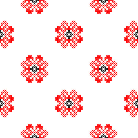 summerly: Seamless isolated texture with abstract red embroidered roses for tablecloth. Embroidery. Cross stitch.
