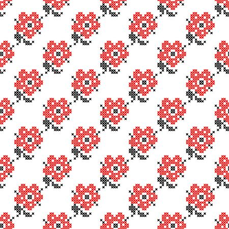 summerly: Seamless isolated texture with abstract red embroidered flowers roses for cloth. Embroidery. Cross stitch.