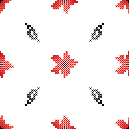 Seamless isolated texture with abstract red embroidered flowers carnations for cloth. Embroidery. Cross stitch