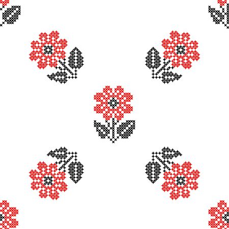carnations: Seamless isolated texture with abstract red embroidered flowers carnations for cloth. Embroidery. Cross stitch