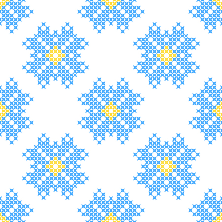 bluet: Seamless embroidered texture of abstract flat patterns, cornflowers, cross-stitch, ornament for cloth
