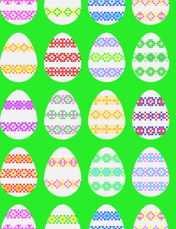Seamless texture of Easter eggs decorated with embroidery, abstract patterns on canvas