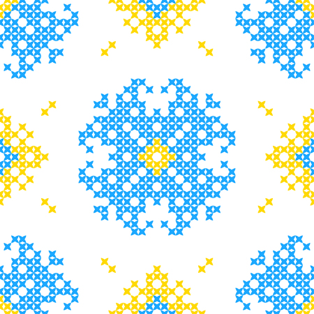 bluet: Seamless embroidered texture of abstract flat patterns, blue flowers, cross-stitch, ornament for cloth
