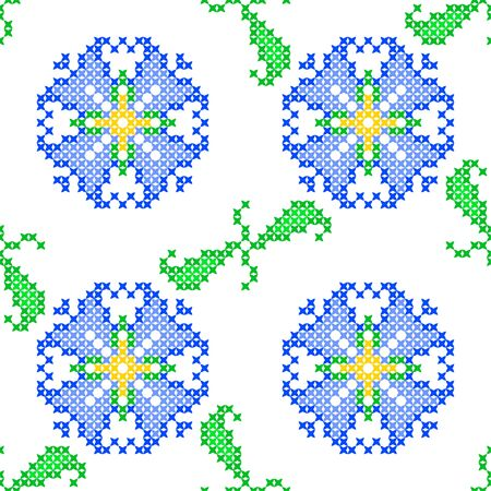 decorative pattern: Seamless embroidered texture of abstract flat patterns, bells with leaves, cross-stitch, ornament for cloth Illustration