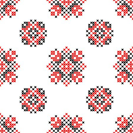 bedcover: Seamless embroidered texture of abstract flat patterns, cross-stitch, ornament for cloth