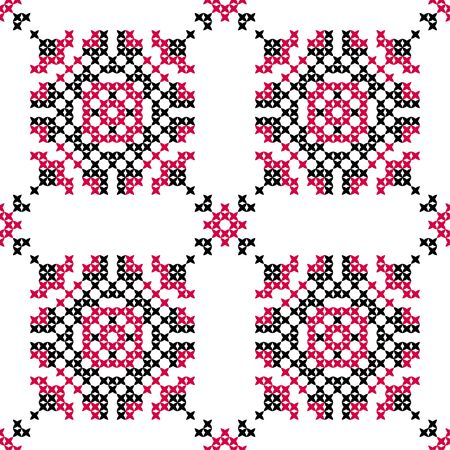 bedcover: Seamless embroidered texture of abstract flat patterns in pink black colors, cross-stitch, ornament for cloth