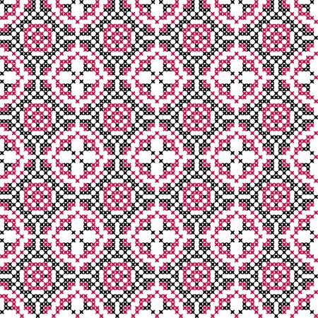 rosa negra: Seamless embroidered texture of abstract flat patterns in pink black colors, cross-stitch, ornament for cloth