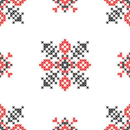 coverlet: Seamless embroidered texture of abstract flat patterns in red black colors, cross-stitch, ornament for cloth Illustration