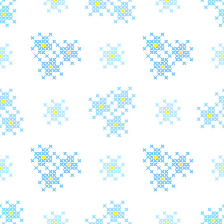 bedcover: Seamless embroidered texture of flat blue patterns, blossoms, cross-stitch, ornament for cloth