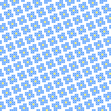 Seamless embroidered texture of flat  blue patterns on canvas, blossoms, cross-stitch, ornament for cloth