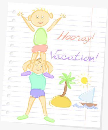 hooray: Cartoon flat illustration, happy boys on a background of paper, vacations, hooray