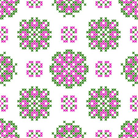 bedcover: Seamless embroidered texture of flat  pink patterns on canvas, flowers, cross-stitch, ornament for cloth Illustration