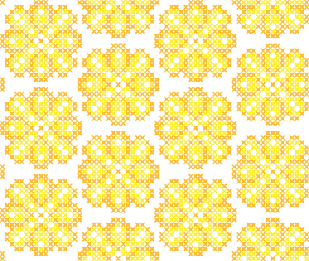 bedcover: Seamless embroidered texture of flat yellow patterns on canvas, dandelions, ornament with flowers, cross-stitch Illustration
