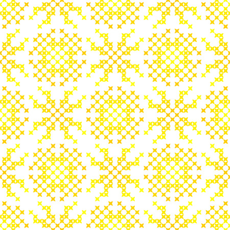 bedcover: Seamless embroidered texture of flat yellow patterns on canvas, abstract ornament with suns, cross-stitch