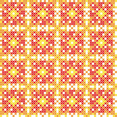 Seamless embroidered texture of flat autumn patterns on canvas, abstract ornament with red, yellow, orange colors, cross-stitch Illustration