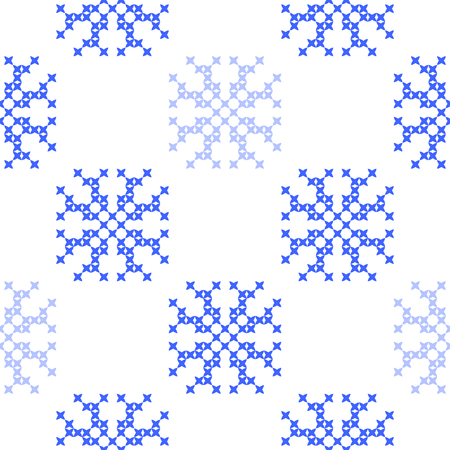 bedcover: Seamless embroidered texture of flat  blue patterns on canvas, snowflakes, winter ornament, cross-stitch