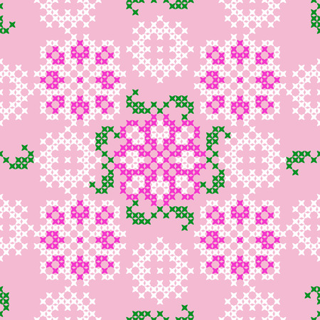 coverlet: Seamless embroidered texture of flat pink, white, green patterns on canvas, abstract ornament, flowers and leaves, cross-stitch