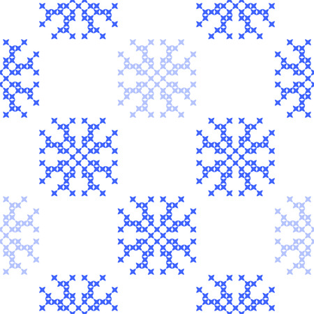 coverlet: Seamless embroidered texture of flat  blue patterns on canvas, snowflakes, winter ornament, cross-stitch