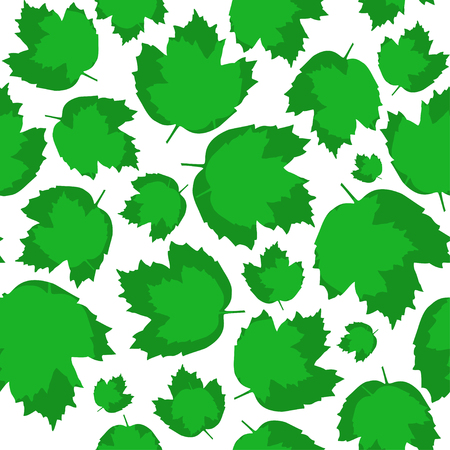 bedcover: Seamless texture, green leaves of viburnum Illustration