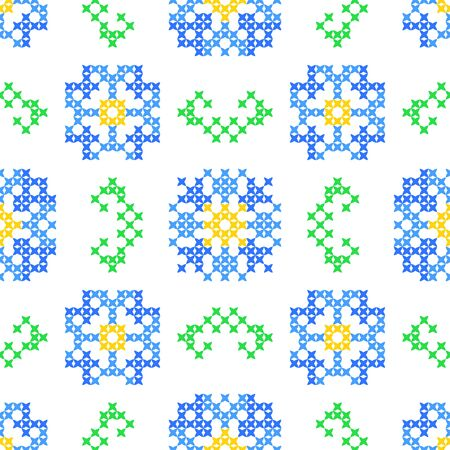 cornflowers: Seamless embroidered texture of abstract flat patterns, cornflowers with leaves, cross-stitch, ornament for cloth