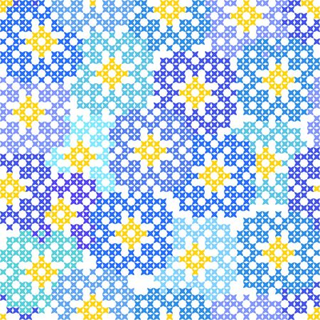 cornflowers: Seamless embroidered texture of abstract flat patterns, cornflowers, cross-stitch, ornament for cloth