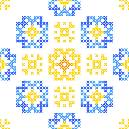 embroidered: Seamless embroidered texture of abstract flat patterns, cornflowers, dandelions, cross-stitch, ornament for cloth