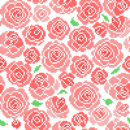 embroidered: Seamless embroidered texture of abstract flat patterns, roses with leaves, cross-stitch, ornament for cloth