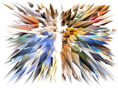 Abstraktes Fraktal von zufällig angeordneten Elementen geometrischer Elemente einer dreieckigen Form. Vektorgrafik