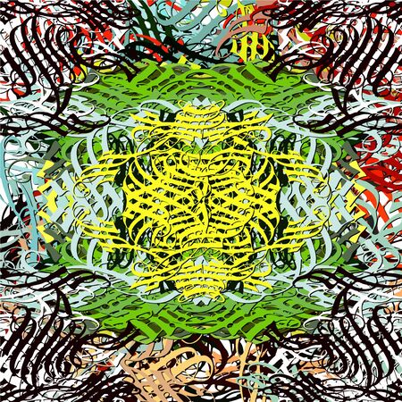Abstract background. Psychedelic fractal, texture of brush strokes of colored paint of blurred lines and spots of different shapes and sizes.