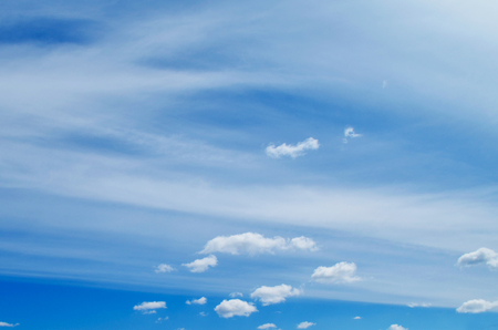Bright blue sky with Cumulus and stratified clouds Stok Fotoğraf