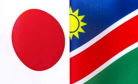 fragments of the national flags of Japan and Namibia close-up