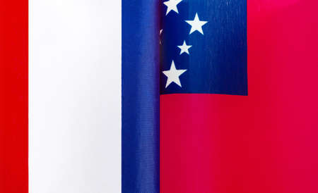 fragments of the national flags of France and Samoa close-up