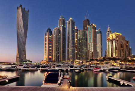 yacht club: New Dubai Marina in twilight