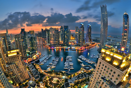New Dubai Marina in twilight