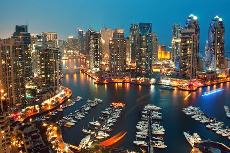 New Dubai Marina in twilight