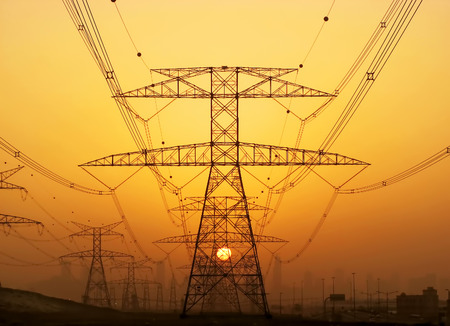 power supply: Electricity pylons Stock Photo